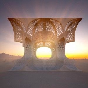 "Josh Haywood creates temporary ""temple""  out of plywood for Burning Man Festival"