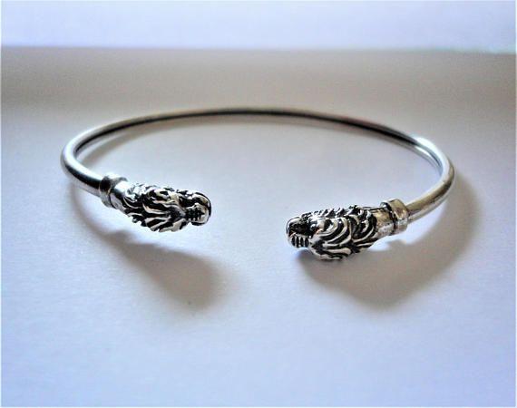 Lion head 925 Silver Bracelet. 1980's Vintage Greek