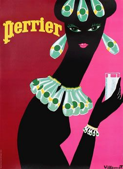 Graphical goodness - vintage Perrier ad by French artist Bernard Villemot