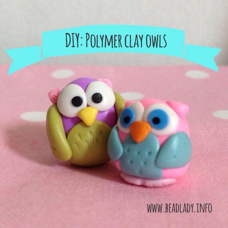 DIY: Polymer clay owls by Angeli Del Rosario www.beadlady.info