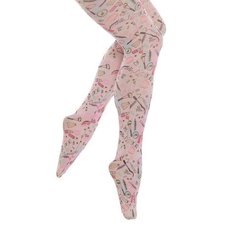 Teenie' Pink Vanity Print Tights - Tights - Hosiery - Accessories