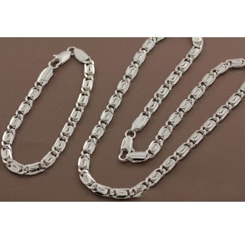 Two-piece 925 Sterling Silver Chain Necklace   Bracelet  for $21.00 #onselz#jewlery #necklace#chains #afforablestuff