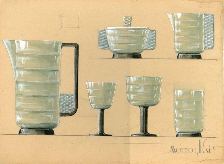 Lasiesineiden piirustus 1930-luvun alusta, taiteilija Evert Toivonen. #everttoivonen #glass #design #glassdesign #finnishdesign