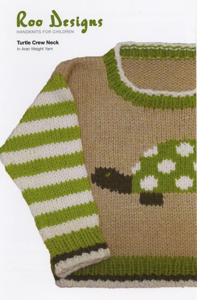 "Turtle Crew Neck from Roo Designs: Child's sweater 6 months(1,2,4,6 years) measuring 10(12,13,14,15)"". You will need aran weight yarn, 160 (160,320,320,320) yards of MC, 1 skein each of Color B,C,D, US 6 (4 mm) and US 7 (4.5 mm) straight needles OR size required to obtain gauge. Gauge is 18 stitches/25 rows for 4"" using US 7 needles. $6.70"