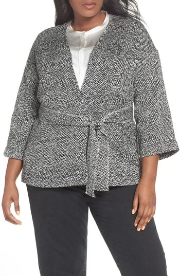 be3e92b2dd5af9 Enjoy exclusive for Eileen Fisher Organic Cotton Tweed Kimono Jacket (Plus  Size) online in 2018