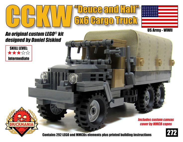 "Brickmania - CCKW ""Deuce and a Half"" 6x6 Truck, $100.00 (http://www.brickmania.com/cckw-deuce-and-a-half-6x6-truck/)"