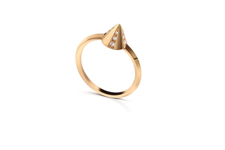 Spike Ring in 18K Yellow Gold and Diamonds.