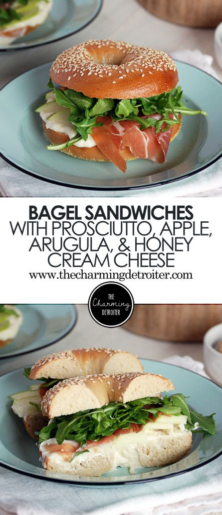 These tasty sesame bagel sandwiches feature salty prosciutto, arugula, crisp granny smith apple, and a homemade honey cream cheese.