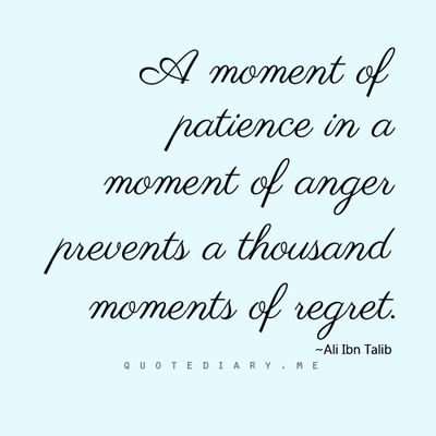 A moment of patience in a moment of anger prevents a thousand moments of regret.