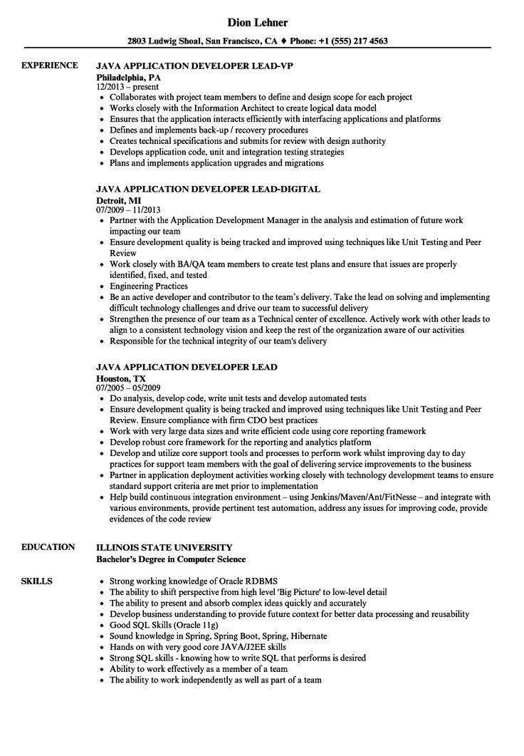 Java application developer lead resume samples velvet jobs