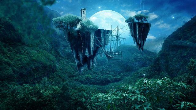 사진 조작, 디지털 아트, 아트웍, 공상, 환상의 섬, 위성, 하늘, 풍경, 꿈, 마술, 녹색, 섬