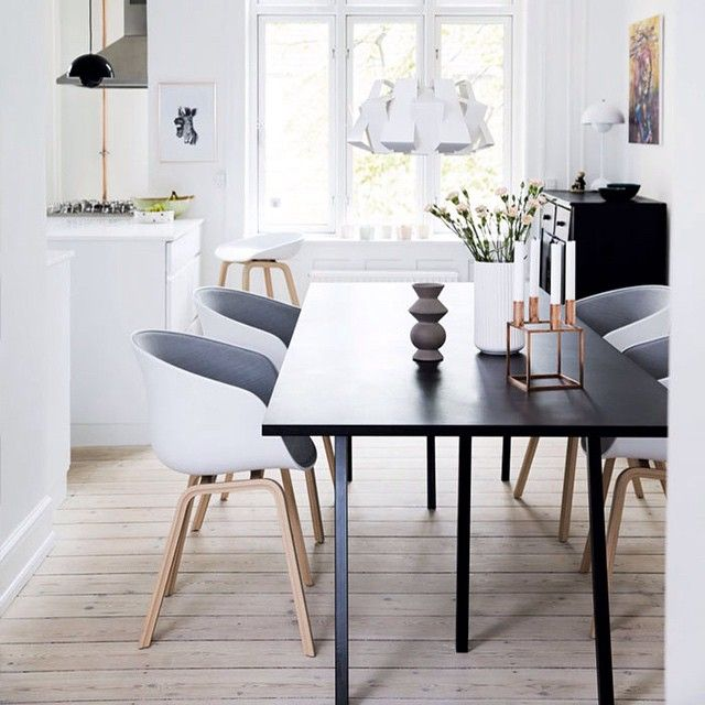 Home of Kathrine & Morten from Copenhagen. About a chair from HAY and Loop stand table, HAY. Photo via nordicdesign.ca #hay