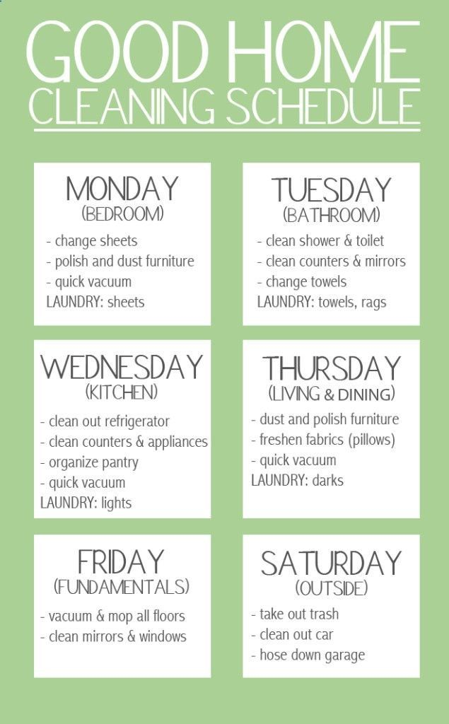 My favorite cleaning schedule I have found. Tweak it to fit your life and it's perfect!!