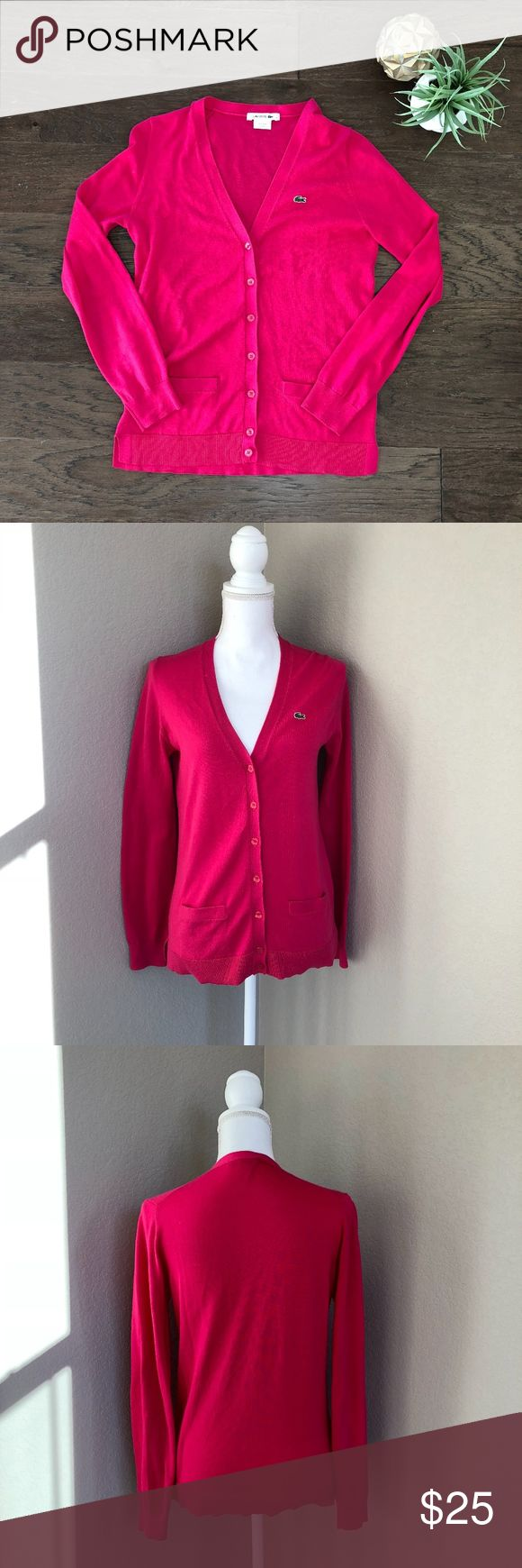 """Lacoste Pink Cardigan EXCELLENT Condition Size 34 Lacoste Pink Cardigan EXCELLENT Condition Size 34. 100% Cotton. Offers welcome! Lacoste sizing equates a 34 to an XS but I think that this could easily fit a small. Measurements pictured and provided below:  Style #AF6520 Length: 24.5"""" Bust: 16.5"""" Lacoste Sweaters Cardigans"""