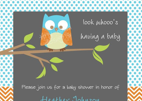Look Whoo's Having a Baby  Baby Boy Shower by TinyToadDesigns, $12.00