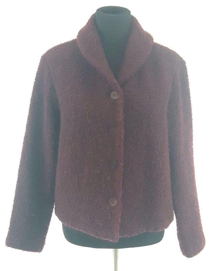 Eileen Fisher Cardigan Jacket SMALL Plum Boucle Wool Nylon Shawl Collar Sweater #EileenFisher #Cardigan