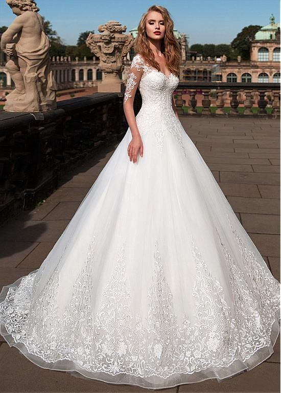 [285.60] Attractive Tulle Sheer Bateau Neckline A-Line Wedding Dress with Lace Appliques