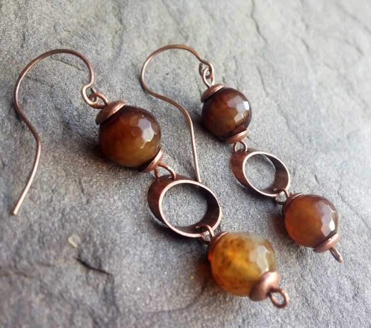 Agate Faceted Beads In Copper Earrings Decoracion De Interiores Pinterest Decoraci 243 N De