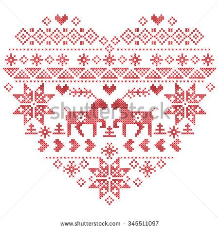 Scandinavian Nordic winter stitch, knitting christmas  pattern in  in heart shape shape including snowflakes, christmas trees,reindeer, snow, stars, decorative elements on  white background   - stock vector