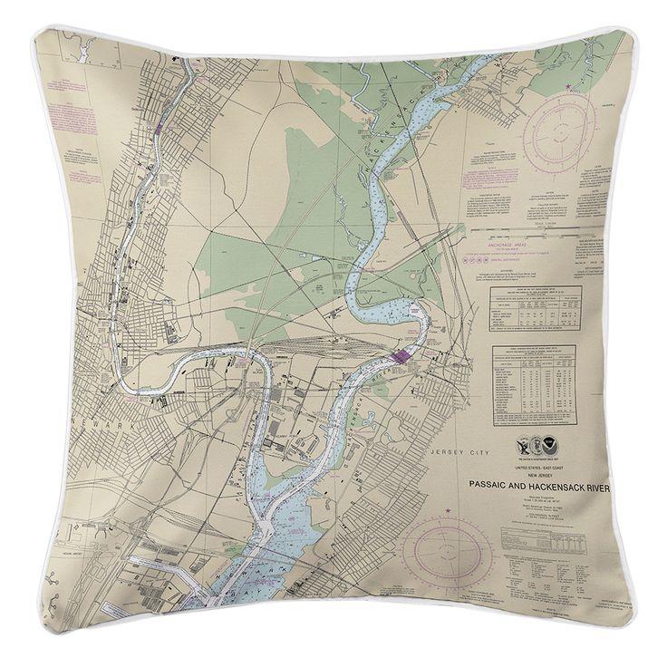 NJ: Newark, Jersey City, NJ Nautical Chart Pillow
