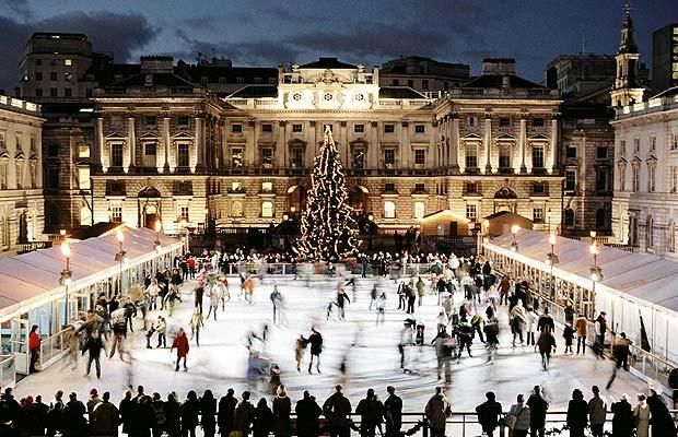 Somerset House  In the winter, it's transformed into one of London's most popular open-air ice skating rinks.