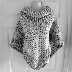 """April's cowl neck poncho ... """"This is my absolute favourite, my 40th! I made using I Love This Yarn in colours Graymist and Cappadocia. It has an ethereal beauty and understated elegance to it,"""" she explains"""