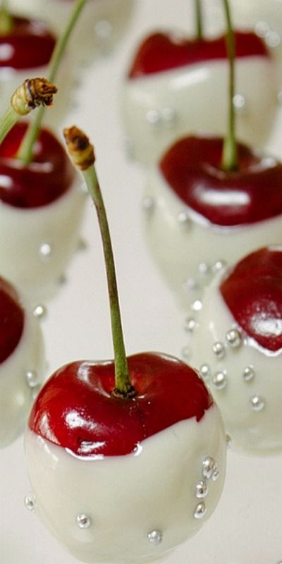 Cherries dipped in White Chocolate with Silver Sugar Pearls - wouldn't this be pretty done with strawberries too?