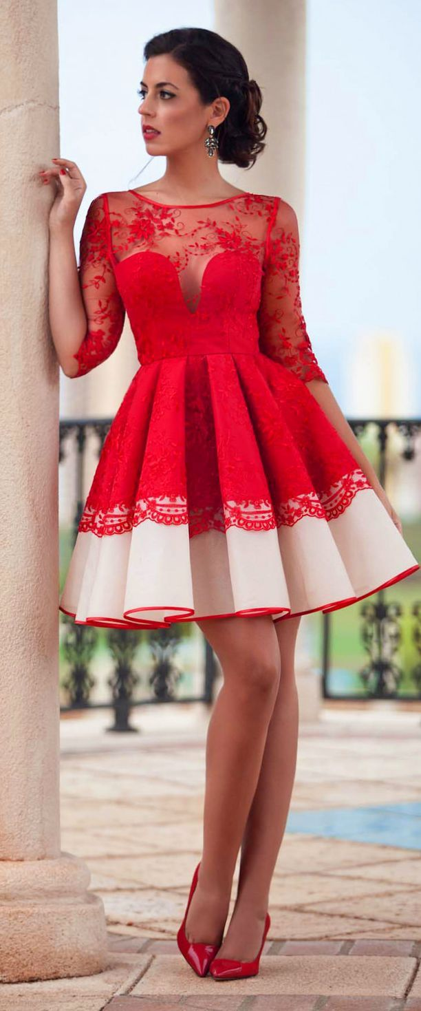 Silvia Navarro Red And Nude Lace Fall Winter Skater Dress by 1sillaparamibolso