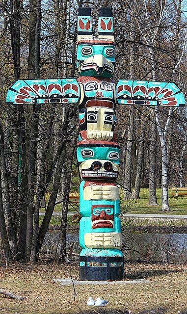 Totem Pole in St Vital Park, Winnipeg // Photo by Willard Joudrey