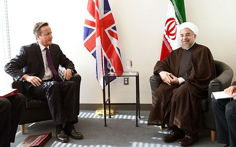 David Cameron in talks with Hassan Rouhani, the president of Iran, at the UN...David Cameron(UK) agrees with Iran Deal