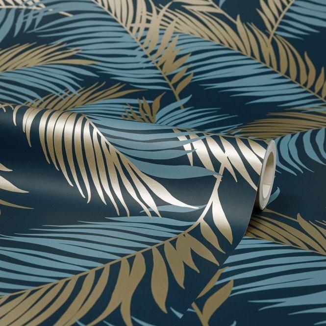 Vivienne Leaf Wallpaper Navy Gold Leaf Wallpaper Feather Wallpaper Love Wallpaper