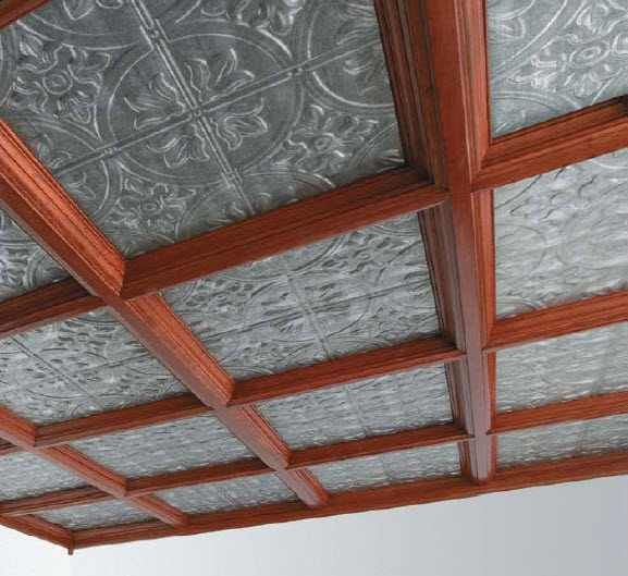 I like this combination of tin and wood for the coffered ceiling in the main house.