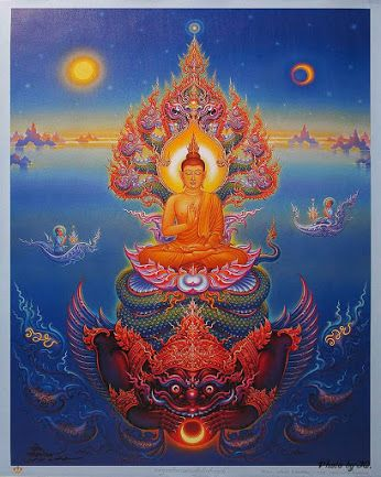 Buddha  Painting by Chalermchai Kositpipat Thai visual artist