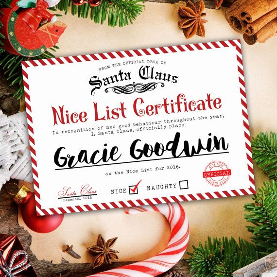 Official Nice List Certificate  by ChantillyDesignsShop on Etsy