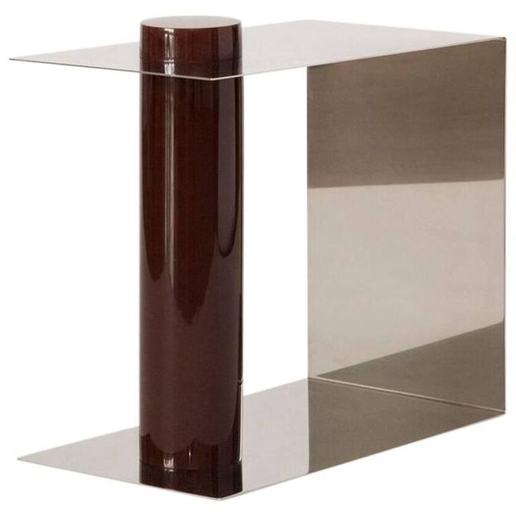 L.E. Pūru Contemporary Side Table in Polished Stainless Steel and Plum Resin | From a unique collection of antique and modern side tables at https://www.1stdibs.com/furniture/tables/side-tables/