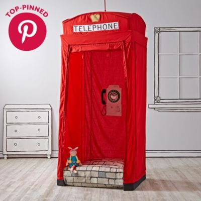 This Phonebooth playhouse is calling your name.  We suggest you answer right away, because it has a lot to say.  First of all, it'll tell you that it was designed to resemble a traditional British phonebooth.  It'll also tell you it has tons of great features, like a removable phone receiver, mesh window, and spinning rotary dial.