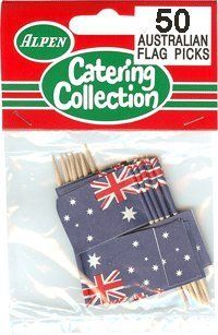 Australian Flag Toothpicks 50 Pack. by Australian Products Co.. $4.95. Celebrate Australia!. Australian Flag Toothpicks 50 Pack.. AUSSIE PRODUCTS FLAG ACCESSORIES: OUTBACK AUSSIE HOME- AUSTRALIAN PHARMACY. TOOTHPICKS. Australian Flag Toothpicks 50 Pack. Recommended for lite snacks. Australian Flag Toothpicks 50 Pack. Make any Aussie BBQ or celebration that much more awesome with a set of Australian Flag Toothpicks ! Add Some Australian Flare To Your Next Par...