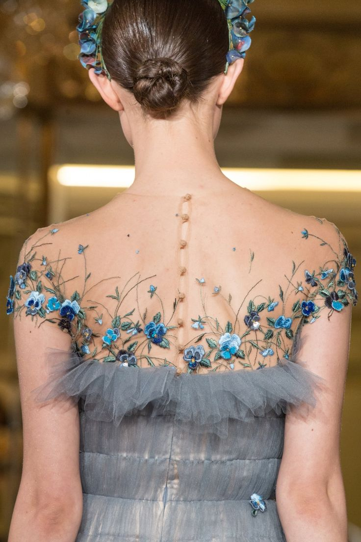 Nuances de Chic  Yanina spring 2014 couture details. I love those blue flowers. Would look lovely as a wedding gown
