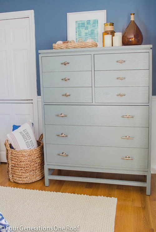 Gorgeous Navy blue master bedroom makeover with a beautiful painted dresser by Four Generations One Roof