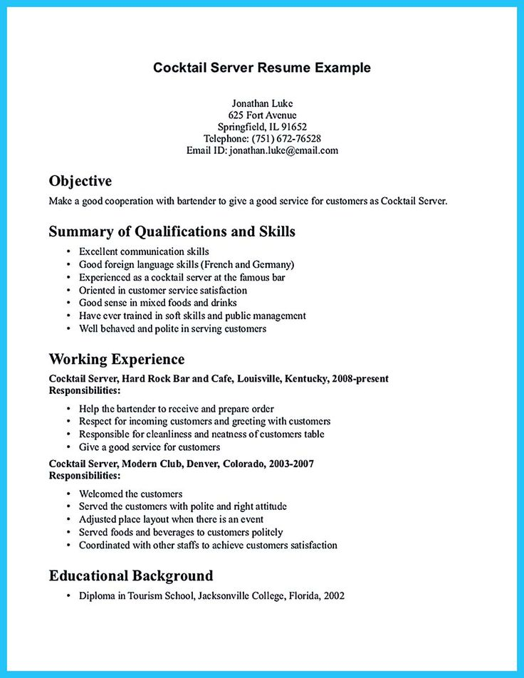 72 best resume images on Pinterest Resume ideas, Resume tips and - resume for a bartender