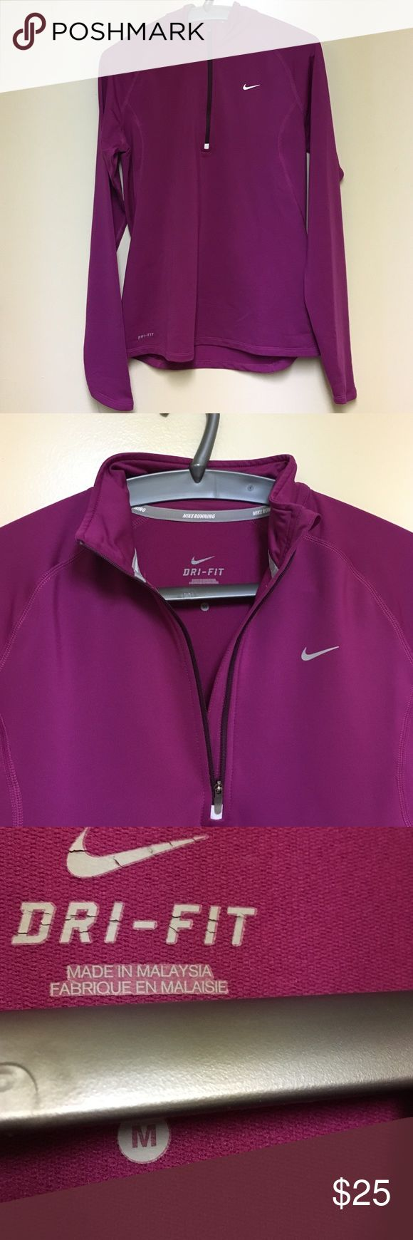 Nike Running Dri Fit long sleeve 1/4 zip top Get in shape for 2017 & look great doing it in this long sleeved Nike top. Moisture wicks away. Super comfy. Sleeves come down mid hand. Hits mid hip. Color is more mulberry/raspberry. Nike Tops Tees - Long Sleeve