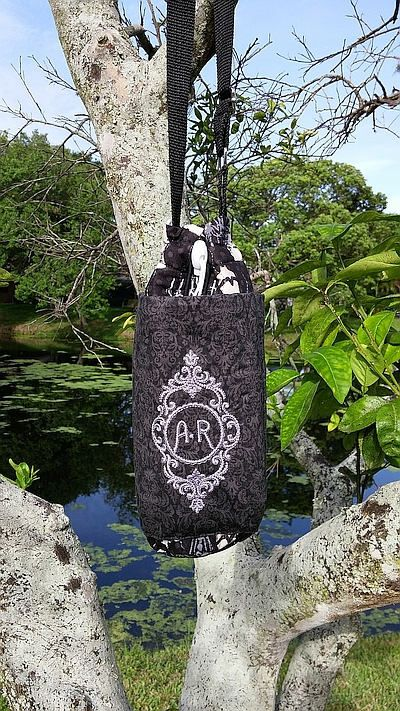 Insulated Water Bottle Carrier-Quilted Large Water Bottle Carrier Paris/ Victorian Themed, Monogrammed Disney Haunted Mansion Inspired