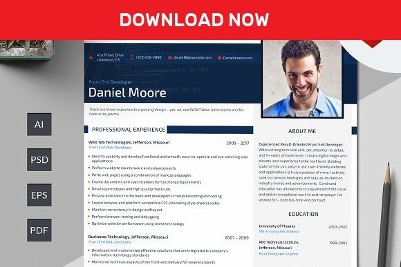 Front End Developer Resume Psd By Motocms On MywpthemesXyz