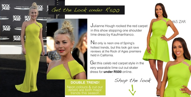 Get Juianne Hough's red carpet look for under R500 with this lime cut out detail skater dress from www.diligo.co.za.