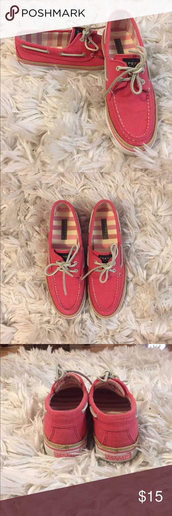 Pink Sperry Boat Shoes (cloth) Great condition cloth boat shoes. Worn maybe 3 times. Sperry Top-Sider Shoes Flats & Loafers