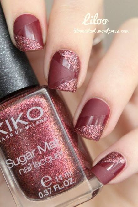 Tape mani in a brick red with contrasts between glossy & matte, and creme & sparkle!  Love this!!!