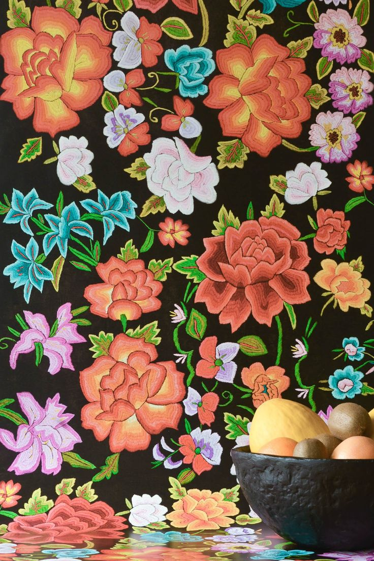 Original Frida Flowers Wallpaper by WYNIL. The timeless feel of embroidered fabric in your home or office. Super easy installation, worldwide shipping :)