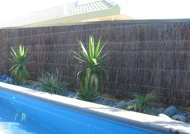 Instant privacy, instant hedge, pool fence compliant. Brustics Brushwood is a natural fencing option made from Melaleuca.
