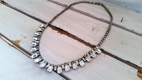 Vintage art deco replica 1950's clear glass necklace