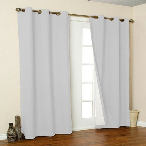 "White 54"" Long Weatheate Themal Grommet Top Curtain Pair"